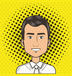 Man face in a cartoon pop art comic style vector