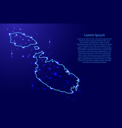 map malta from the contours network blue luminous vector image