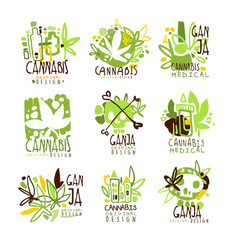 Medical ganja colorful graphic design template vector