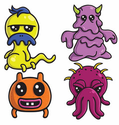 monster character design cartoon set vector image
