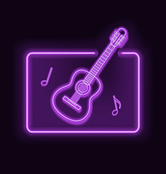 neon rectangle frame with guitar glowing vector image