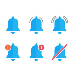 Notification bell flat icons new message sign set vector