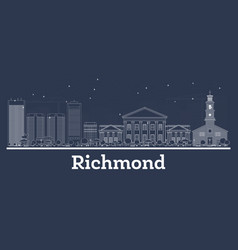 outline richmond virginia city skyline with white vector image