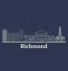 Outline richmond virginia city skyline with white vector