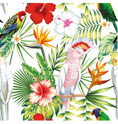 Parrot tropical flowers and leaves seamless vector