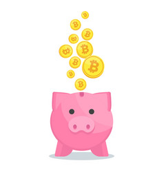 Piggy bank with bitcoin vector