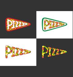 Pizza lettering logo vector