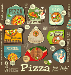 Pizza stickers set vector