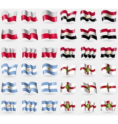 Poland egypt argentina alderney set of 36 flags of vector