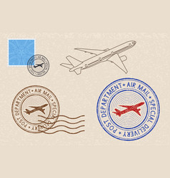 Postmarks and postal elements on beige background vector