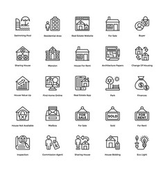 Real estate line icons set 7 vector