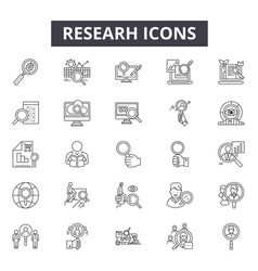Research line icons signs set outline vector