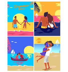 romantic young couple spending honeymoon on beach vector image