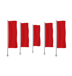 row of red vertical banner flags vector image