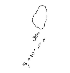 saint vincent and grenadines map of black contour vector image