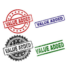 scratched textured value added seal stamps vector image