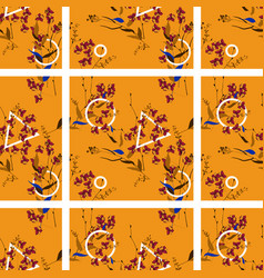 seamless floral hand drawn tile mix for fashion vector image