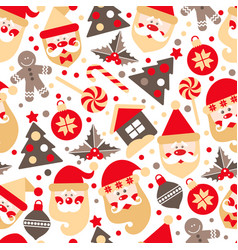 Seamless texture santa claus with gifts tree vector