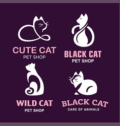 Set logo cats pet emblem design on vector