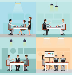 set of business people working in the office vector image