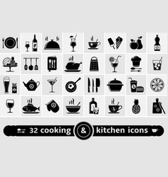 set of cooking kitchen tools food and drinks vector image