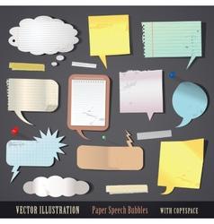 set of textured paper speech bubbles vector image