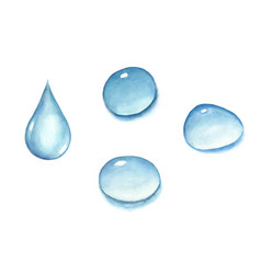 Set of watercolor water drops vector