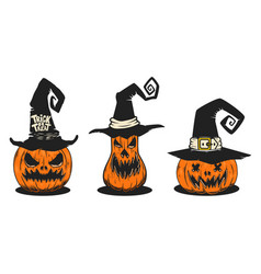 set scary halloween pumpkin in witch hats vector image