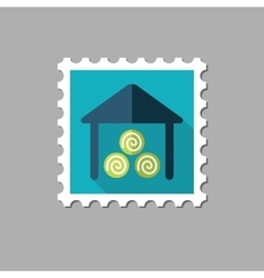 Shed flat stamp with long shadow vector image