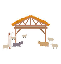 Shepherd with sheeps in stable vector