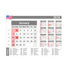 Simple calendar 2018 - one year at a glance - vector