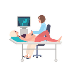 smiling doctor or sonographer doing obstetric vector image