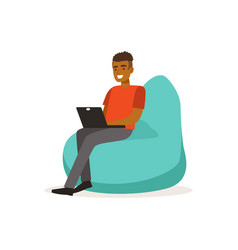 Smiling man casual dressing sitting on bean bag vector