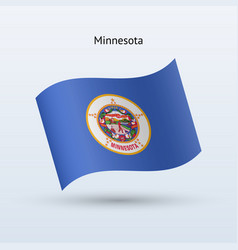 State of minnesota flag waving form vector