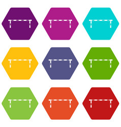 Striped barrier icon set color hexahedron vector