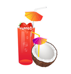 sweet summer cocktails with strawberries coconut vector image