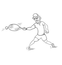 Tennis player striking a ball vector