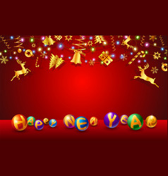 text new year and christmas festival vector image