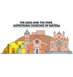 the sassi and the park - - rupestrian churches of vector image