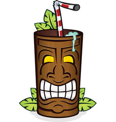 tiki god wooden cup cartoon vector image