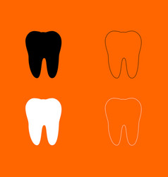 Tooth black and white set icon vector