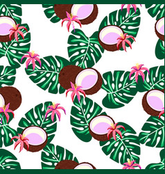 Tropical pattern with coconut vector