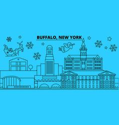 united states buffalo winter holidays skyline vector image