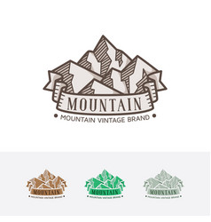 vintage mountain logo vector image
