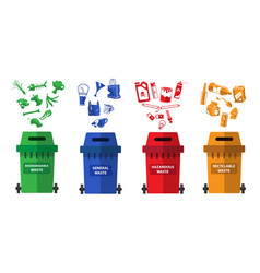 waste recycling management concept with green vector image