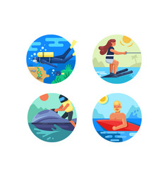Water sport icon set vector