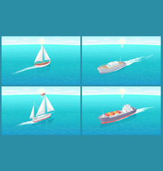 Water transport sailing boat ships set vector