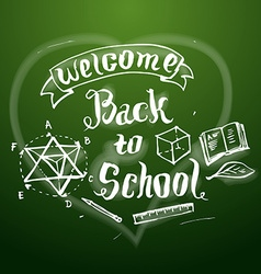 Welcome back to school background on chalkb vector image