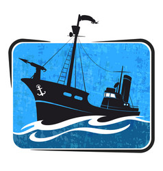 whaler in the sea vector image