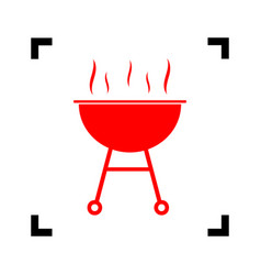 barbecue simple sign red icon inside vector image